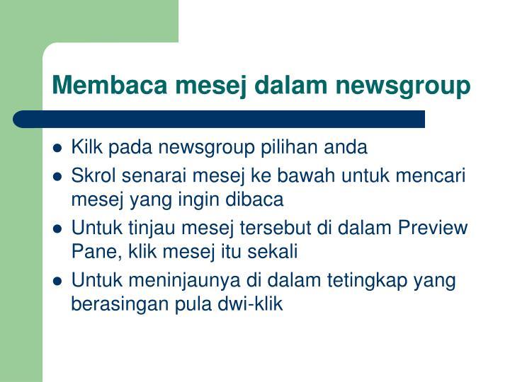 Membaca mesej dalam newsgroup