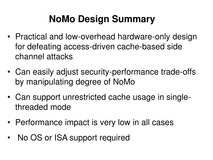 NoMo Design Summary