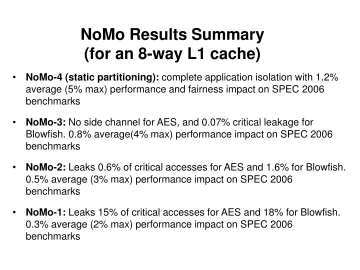 NoMo Results Summary
