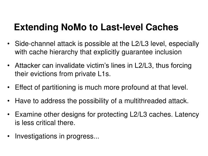 Extending NoMo to Last-level Caches