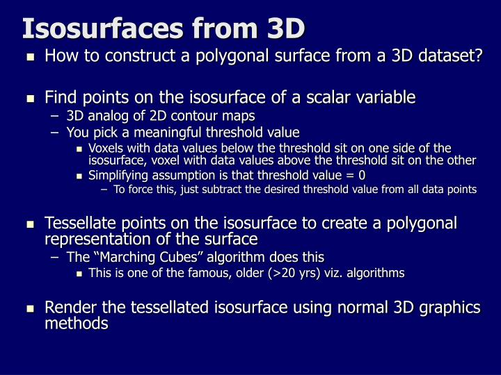 Isosurfaces from 3D