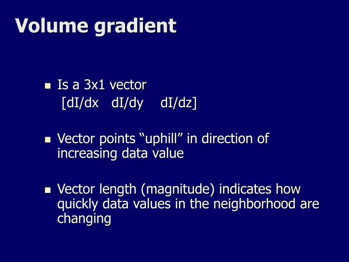 Volume gradient