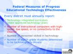 federal measures of progress educational technology effectiveness