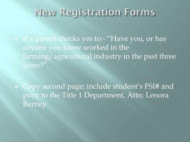 New Registration Forms