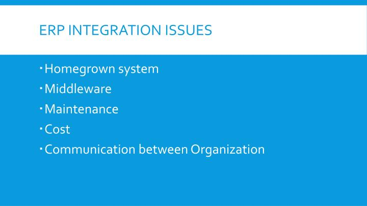ERP Integration issues
