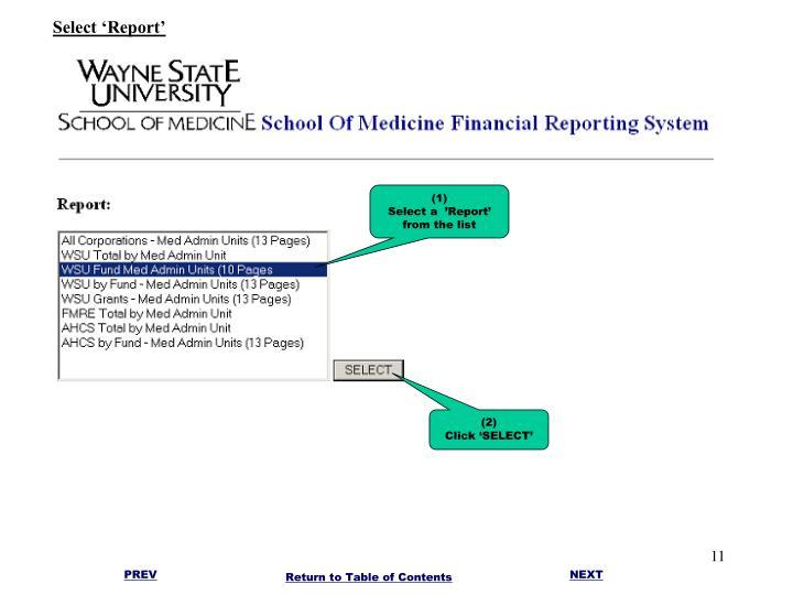 Select 'Report'