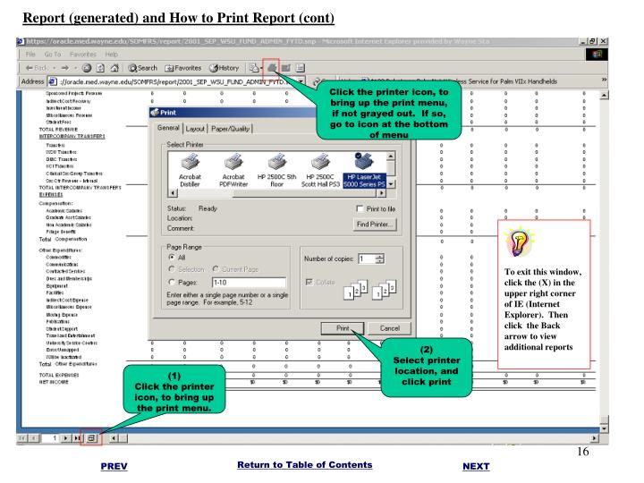 Report (generated) and How to Print Report (cont)