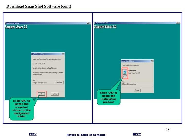 Download Snap Shot Software (cont)