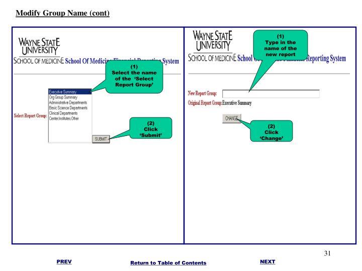 Modify Group Name (cont)