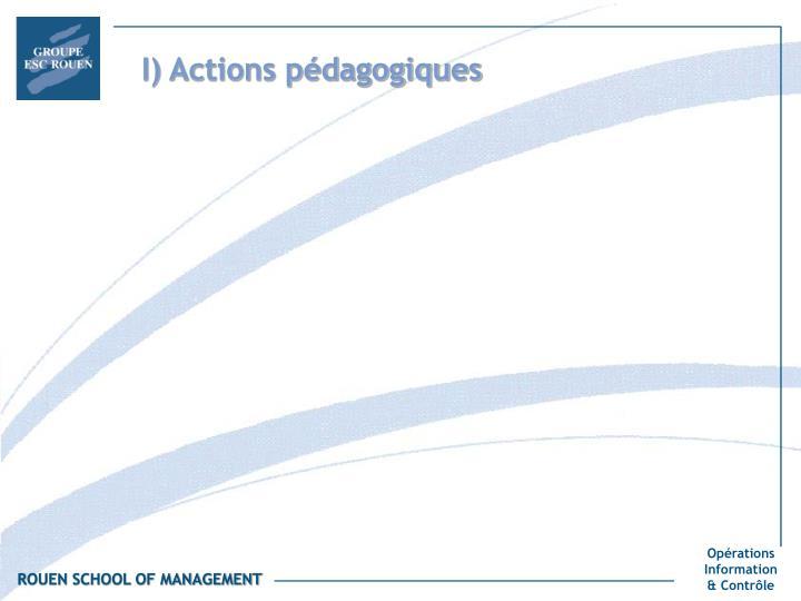 I) Actions pédagogiques