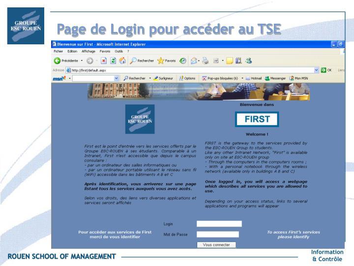 Page de Login pour accéder au TSE
