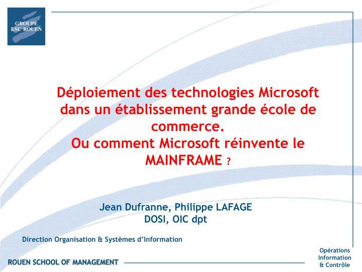 Déploiement des technologies Microsoft