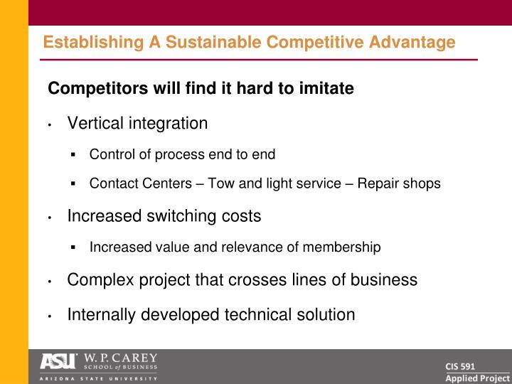 Establishing A Sustainable Competitive Advantage