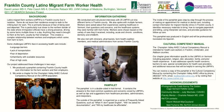 Franklin County Latino Migrant Farm Worker Health