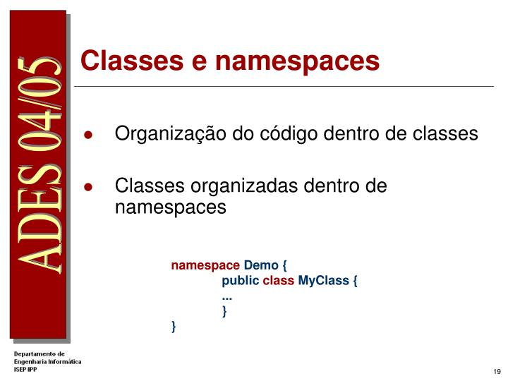 Classes e namespaces