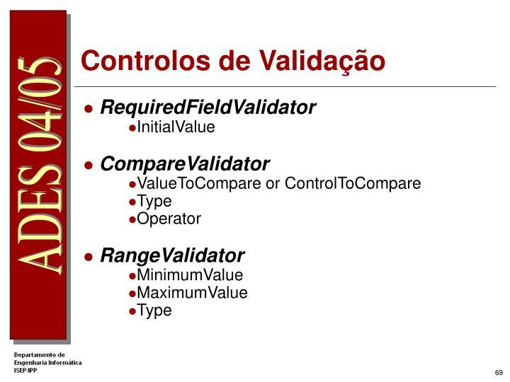 Controlos de Validação