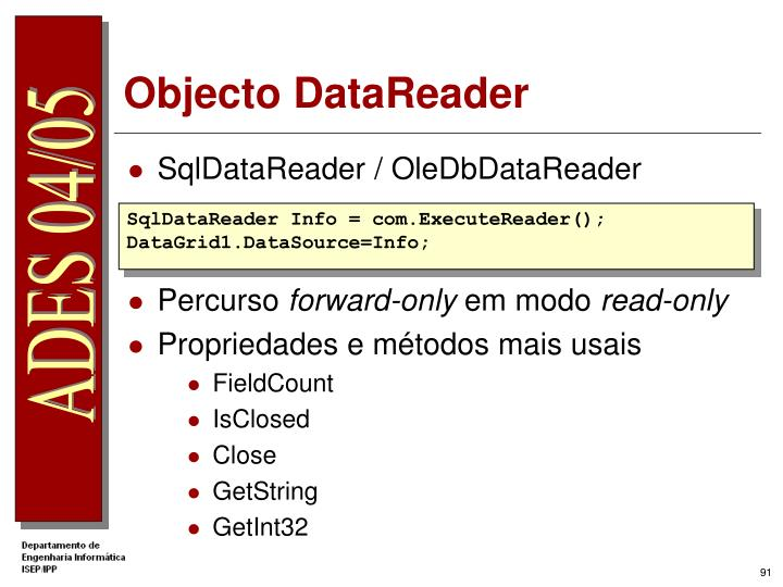Objecto DataReader