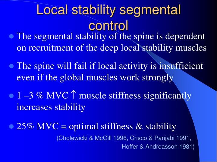 Local stability segmental control