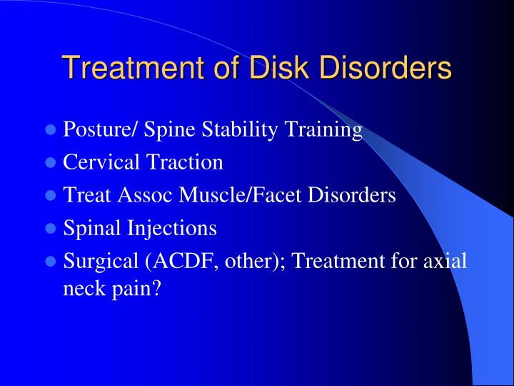 Treatment of Disk Disorders