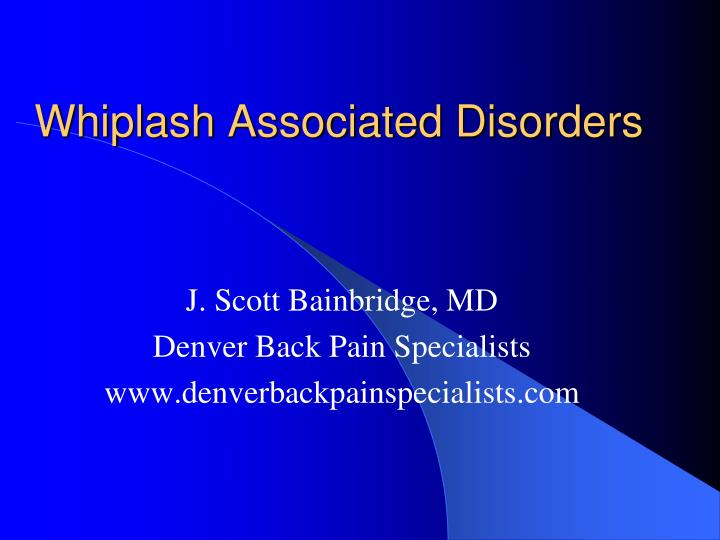 whiplash associated disorders
