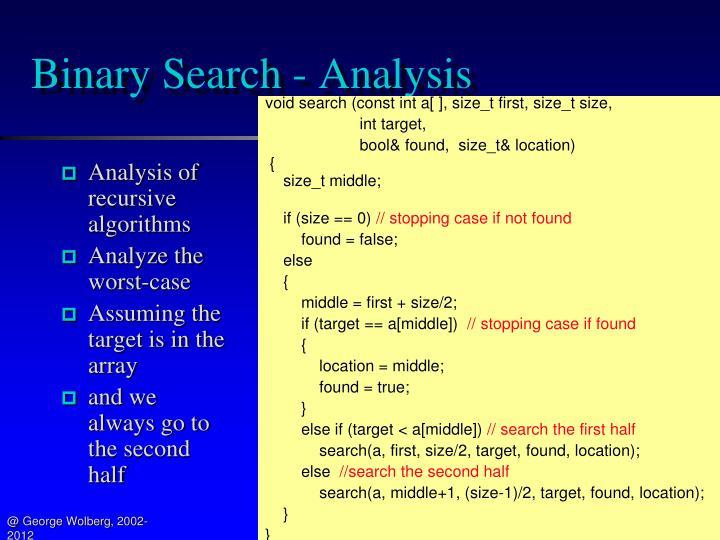 Binary Search - Analysis