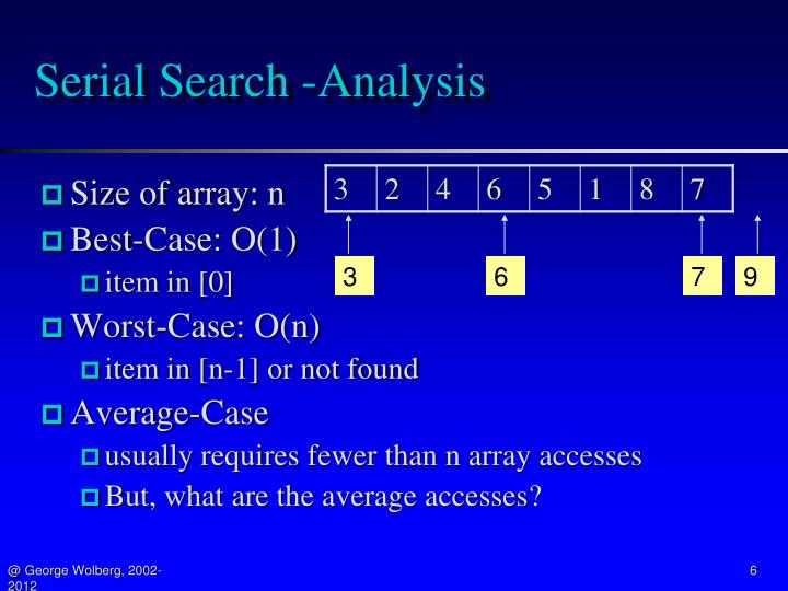 Serial Search -Analysis