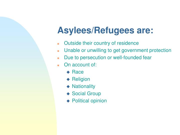 Asylees/Refugees are: