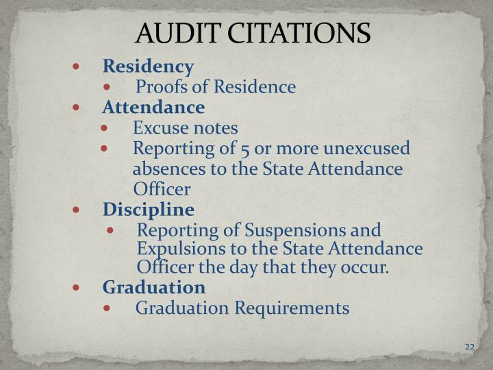 AUDIT CITATIONS