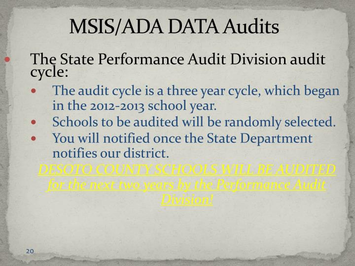 MSIS/ADA DATA Audits