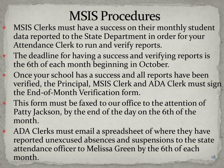 MSIS Procedures
