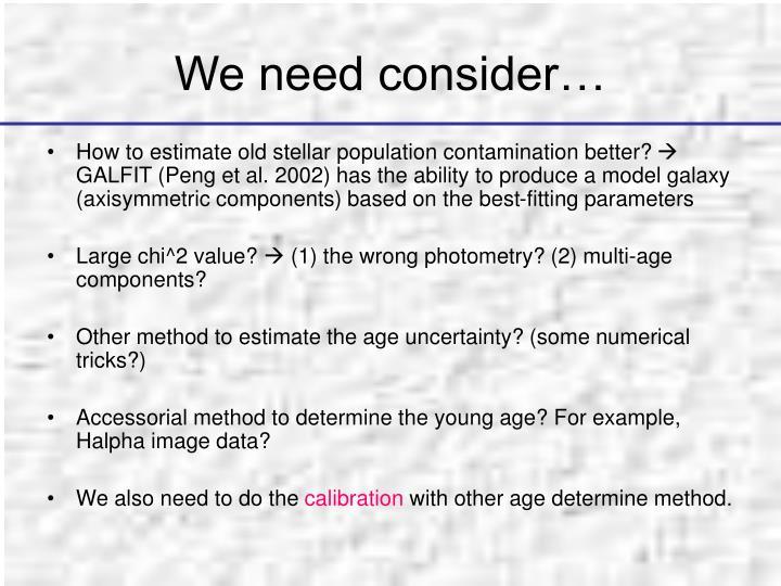 We need consider…