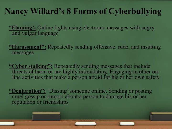 Nancy Willard's 8 Forms of Cyberbullying