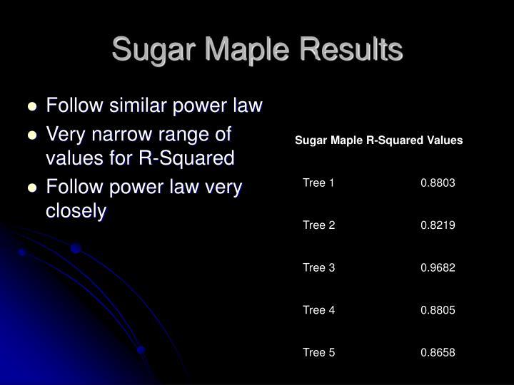 Sugar Maple Results