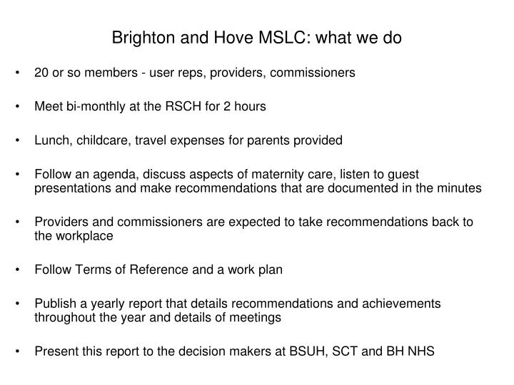 Brighton and Hove MSLC: what we do