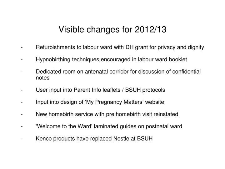Visible changes for 2012/13