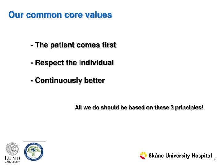 Our common core values