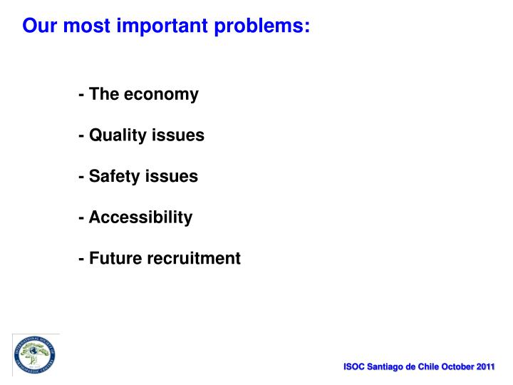 Our most important problems: