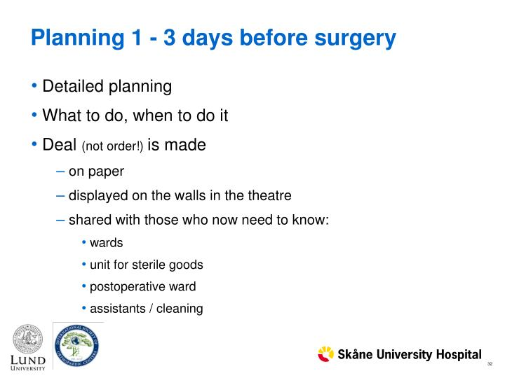 Planning 1 - 3 days before surgery