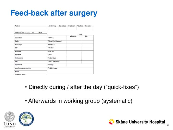 Feed-back after surgery