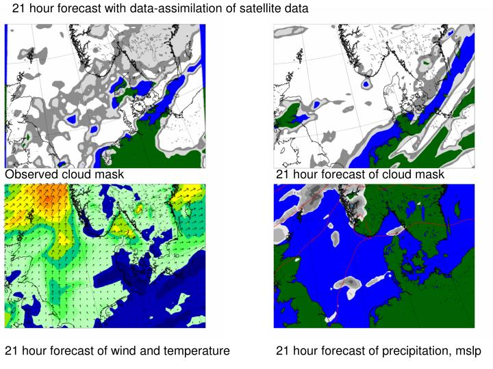 21 hour forecast with data-assimilation of satellite data