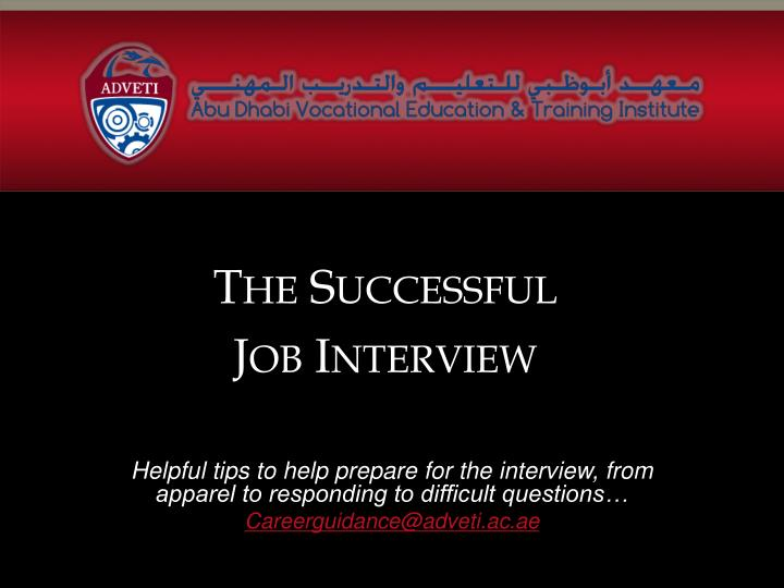 how to be successful in a job interview