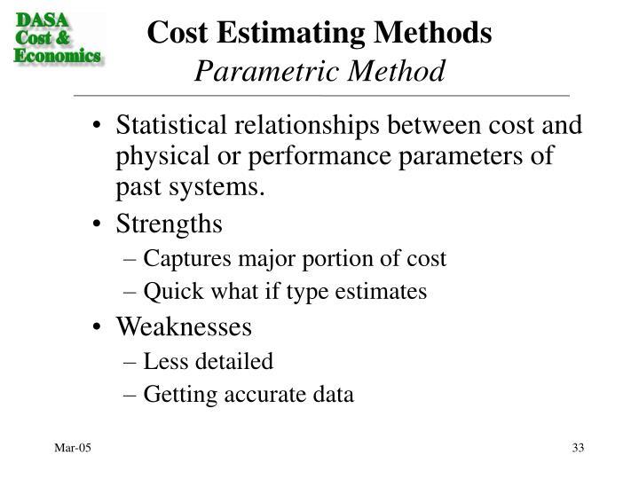 Cost Estimating Methods
