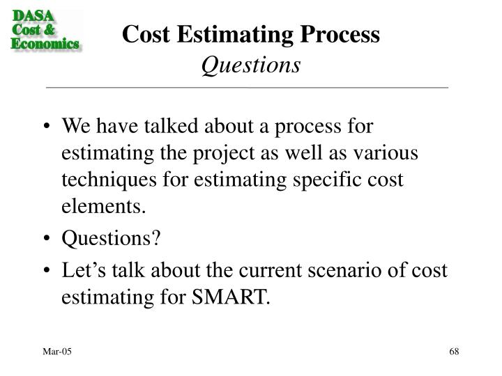 Cost Estimating Process