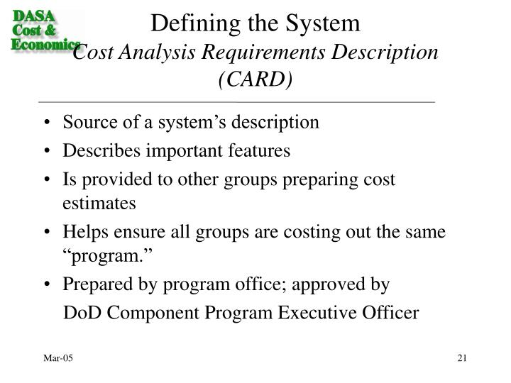 Defining the System