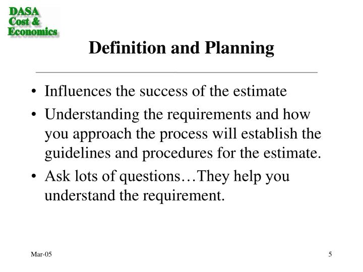 Definition and Planning