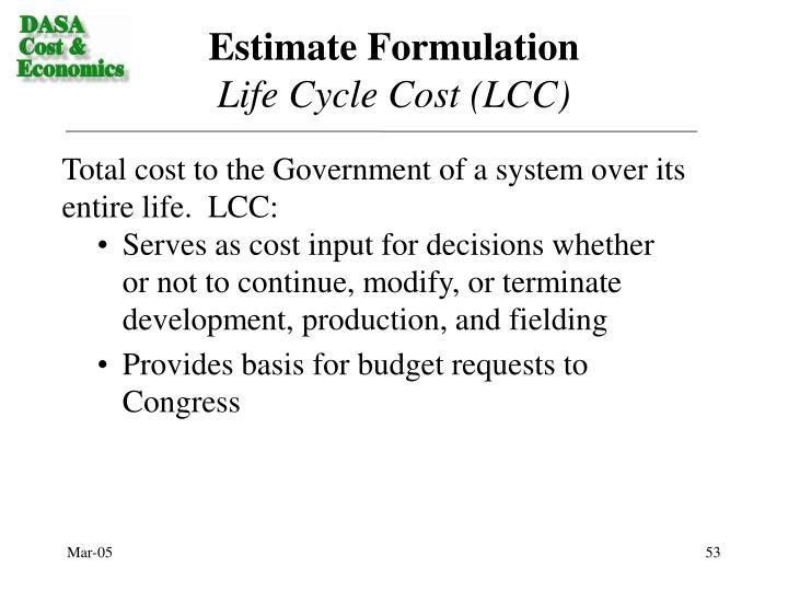Estimate Formulation