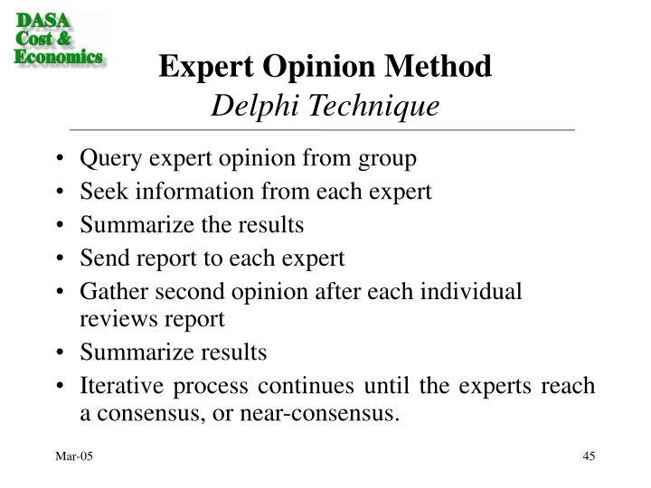 Expert Opinion Method