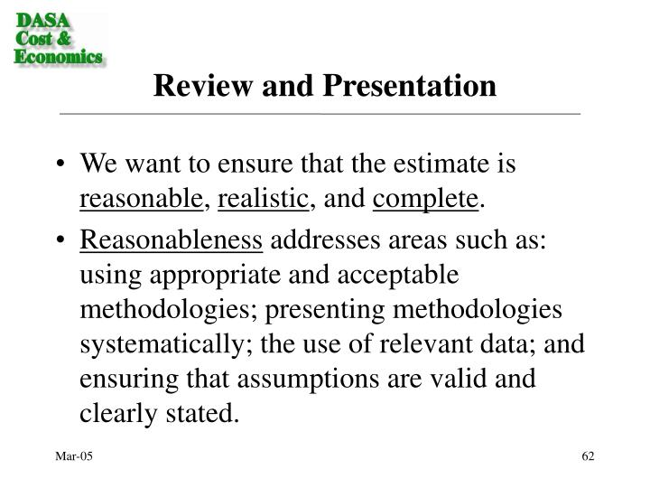 Review and Presentation