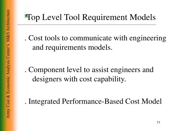 Top Level Tool Requirement Models