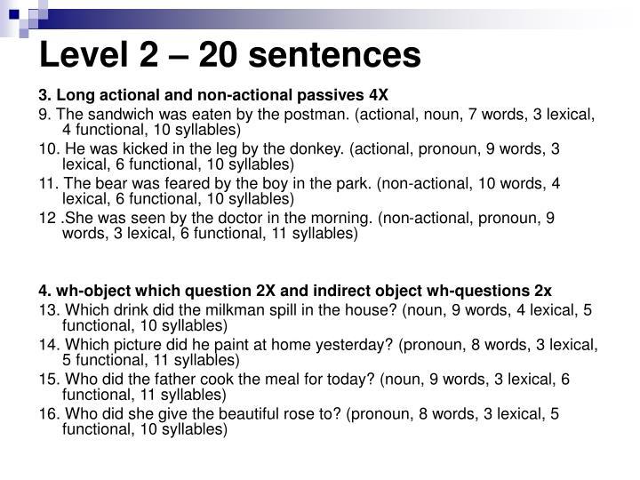 Level 2 – 20 sentences